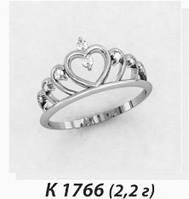 Кольцо серебряное Корона Сердце