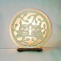 Соляной светильник круглый Совы на ветке