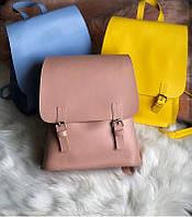 Женский рюкзак-сумка пудрового цвета из экокожи