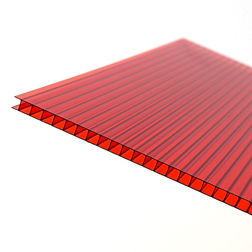 Сотовый поликарбонат Vizor, красный, 6 мм