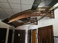 Металевий збірний дашок Dash'Ok Фауна 2,05м*1м з монолітним полікарбонатом 3мм, фото 1