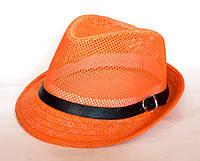 """Шляпа """"Челентанка"""", оранжевая сетка (54 см)"""