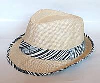 """Шляпа """"Челентанка"""", бежевая, сетка (52 см)"""