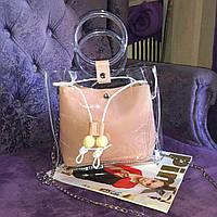 Прозрачная силиконовая сумка c косметичкой на лето, Хит 2019 года! Пудра