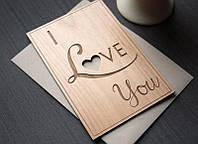 Оригинальная деревянная открытка I love YOU, Открытка на день влюбленных, 14 февраля