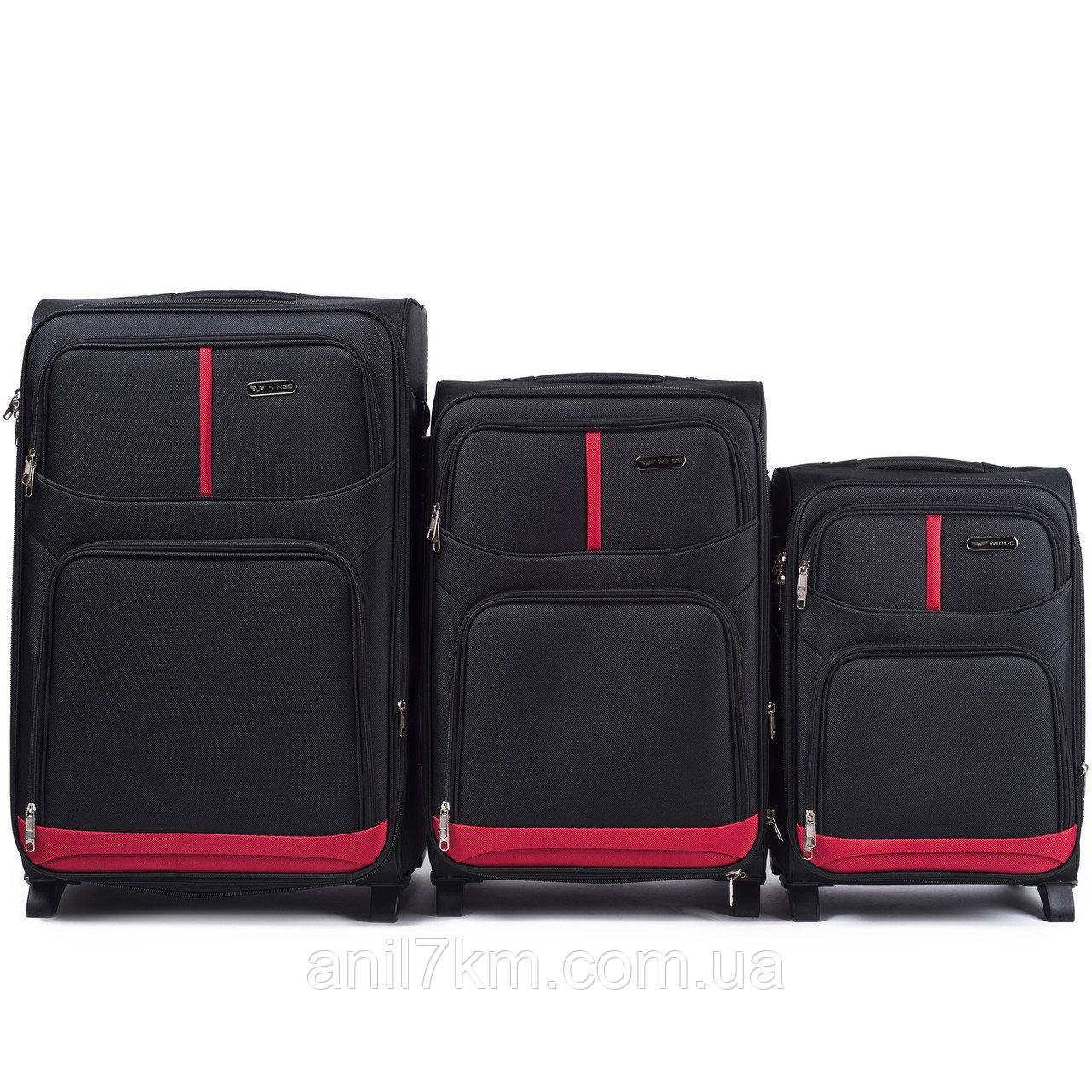 Набор чемоданов 3 штуки в 1 Wings 206 на 2 колесах