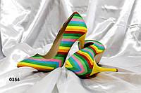 Туфли лодочки с цветным принтом