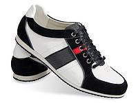 Мужские кроссовки черно-белого цвета из натуральной кожи!, фото 1