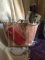 Модная прозрачная сумочка на магните и цепочке c косметичкой на лето, пляжнаяя сумка Пудра