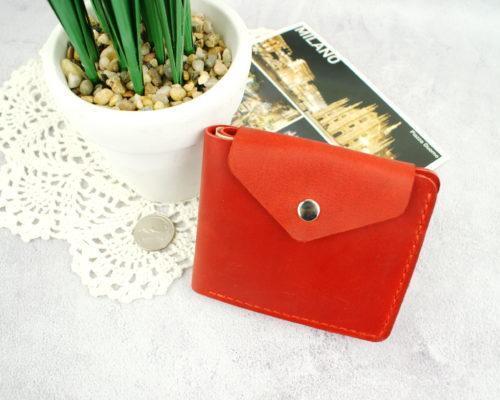 Стильний червоний гаманець зі шкіри Рута