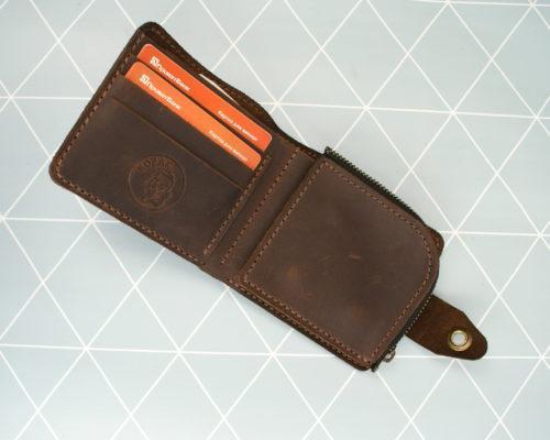 Шкіряний гаманець зі знімною кишенькою для монет Легінь коричневий