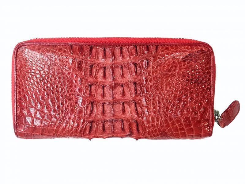 Мужской кошелек из кожи Крокодила 19,5x10x2,5 см 1020. ZAM 11 T Red