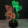 Ночник 3д двухцветный. Мишка с шариками