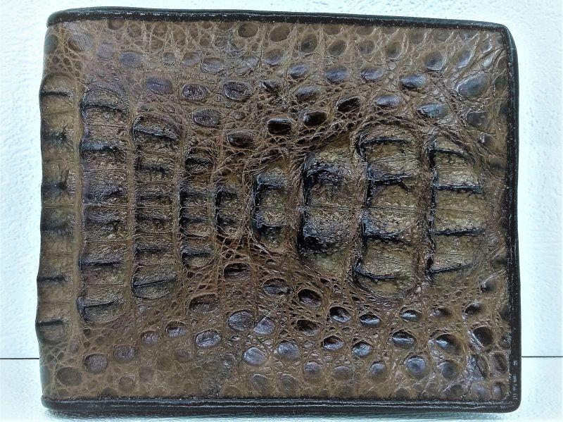 Мужской портмоне из кожи Крокодила 1004d. ALM 03 SK Brown