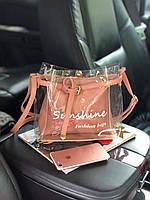 """Модная летняя прозрачная Силиконовая сумочка-трапеция """"Sunshine"""", пляжнаяя сумка, фото 1"""