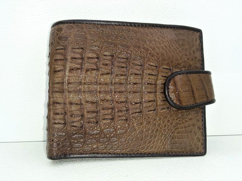 Мужской портмоне из кожи Крокодила 1001f. ALM 096-3 SK Brown