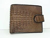 Мужской портмоне из кожи Крокодила 1001f. ALM 096-3 SK Brown, фото 1