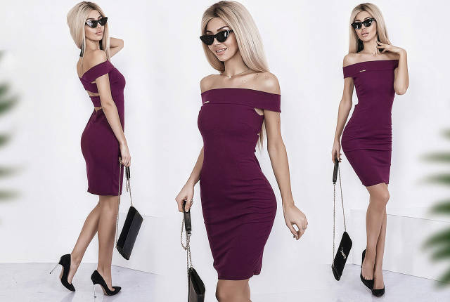 """Облегающее летнее платье """"Gremmi"""" с оголенными плечами и переплетом на спине (3 цвета), фото 2"""