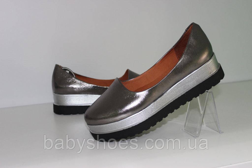 Женские кожаные туфли на платформе  р.36-41