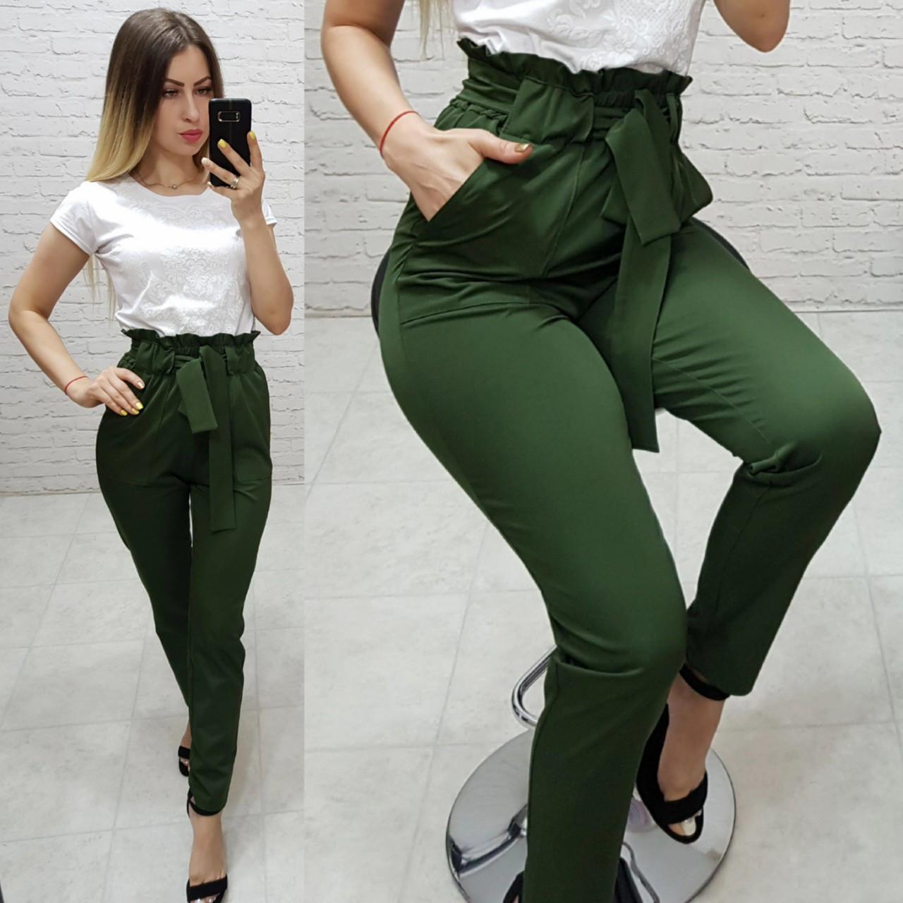 Штани з поясом арт. 168 зелені / зеленого кольору / хакі