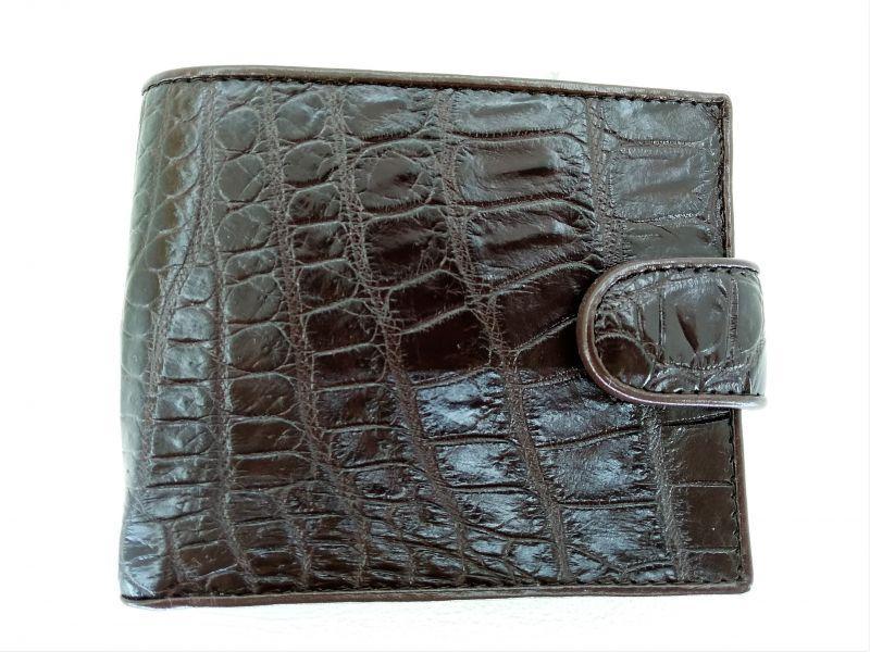 Мужской портмоне из кожи Крокодила 1001g. ALM 096-4 B Brown
