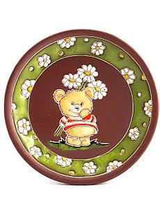 """Блюдце керамическое под чашку """"Мишка с цветами"""""""