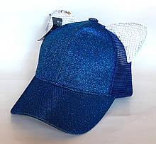 Кепка з вушками блискуча, синя (50-52 см)