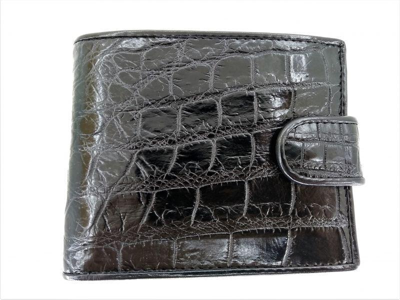 Мужской портмоне из кожи крокодила 1001f. ALM 096-4 B Black
