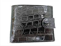 Мужской портмоне из кожи крокодила 1001f. ALM 096-4 B Black, фото 1