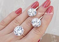 Набір з круглими каменями серги + кільце срібло 925, фото 1