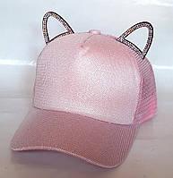 Кепка с ушками блестящая, розовая (50-52 см)