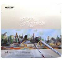 """Акварельные карандаши 24 цв. MARCO """"Raffine"""" 7120-24TN в мет. короб."""