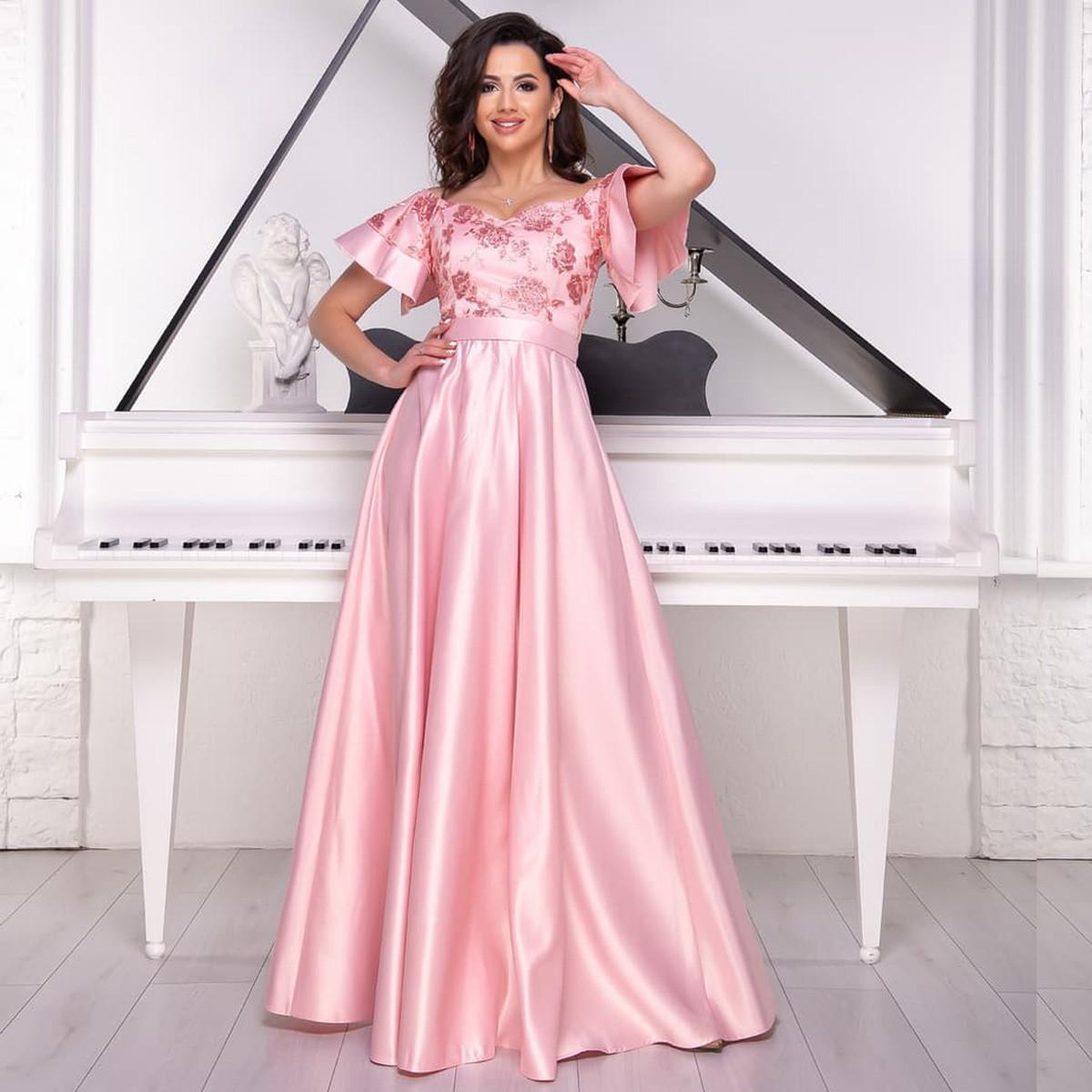 """Рожеве випускну, вечірню сукню максі з воланами """"Сідней"""""""