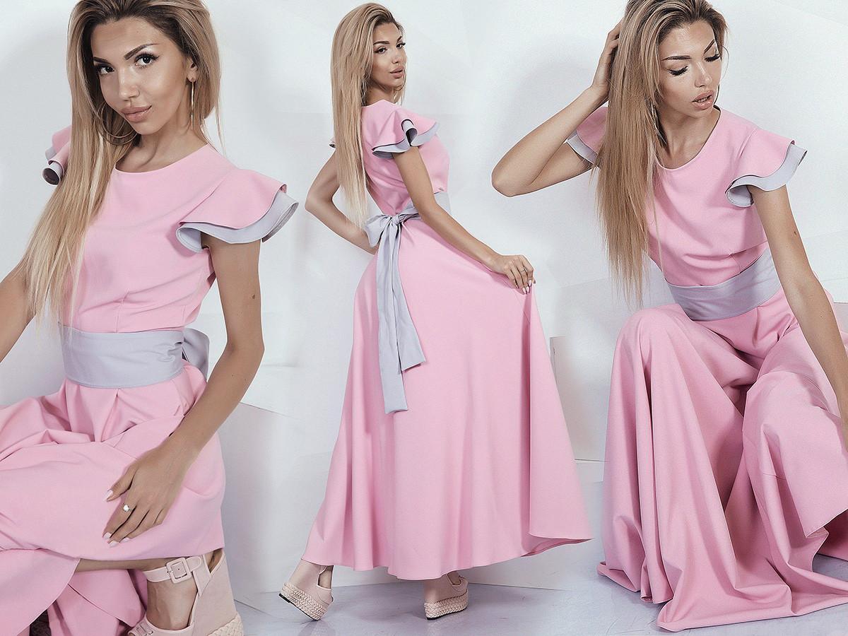 """Длинное летнее платье """"DONNA"""" с контрастным поясом (2 цвета)"""