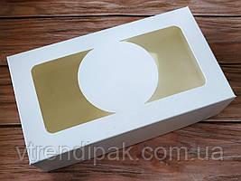 """Коробка """"БІЛА"""" для  зефіру, десертів, тістечок, еклерів 200*115*50 з мелованого картону з вікном ПВХ-плівка"""