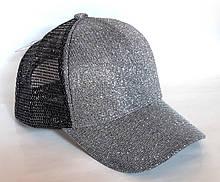 Кепка блестящая, черная сетка (52-54 см)