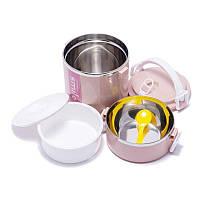 Ланч бокс для школы с двумя отсеками для супа и других продуктов BST 490242 16*16*23 см розовый