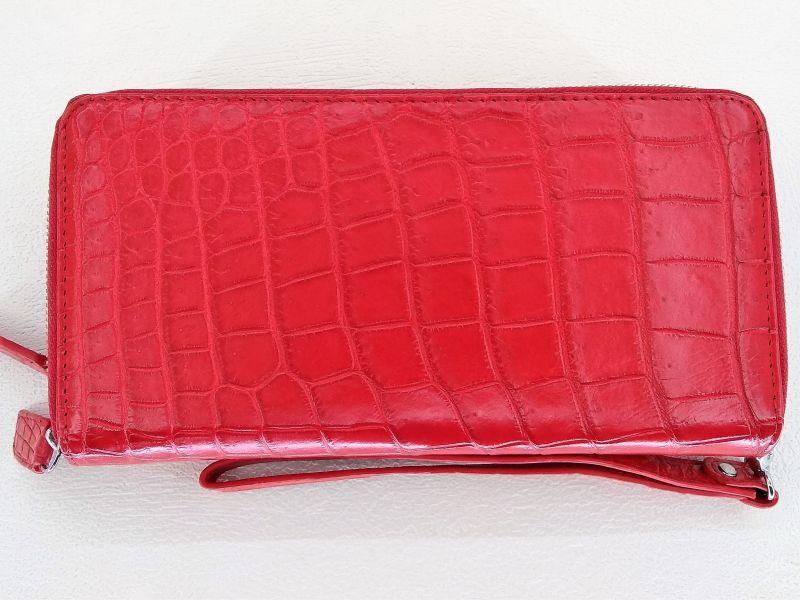 Мужской кошелек из кожи Крокодила 1019. ZAM 15 B Red