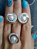 Серебряный набор украшений 058 серьги и кольцо, фото 3
