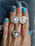 Серебряный набор украшений 058 серьги и кольцо, фото 7