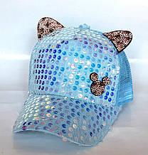 Кепка з вушками, сітка, блакитна (50-52 см)