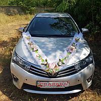 Украшение для свадебной машины фитином в нежно-розовом цвете