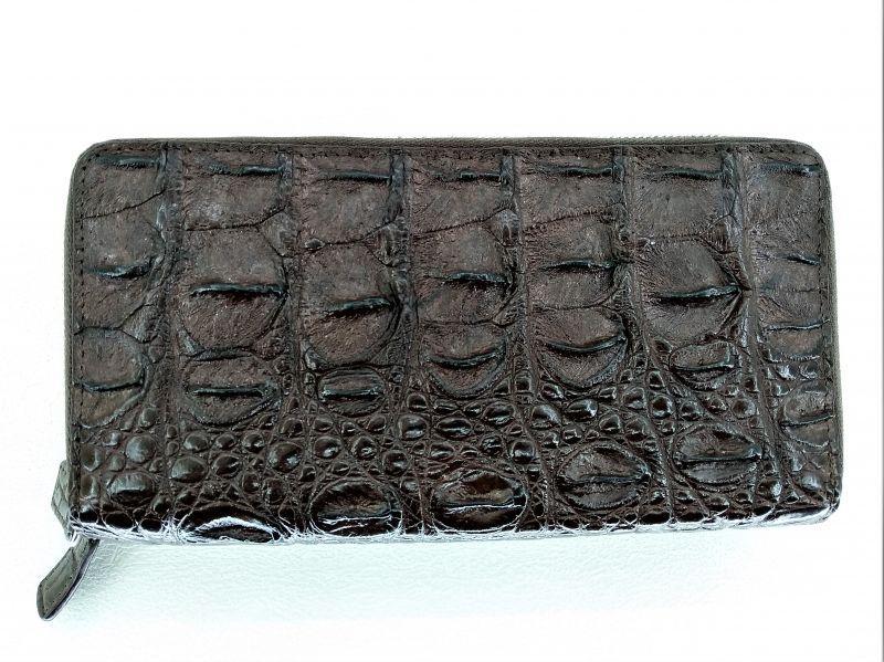 Мужской кошелек из кожи крокодила 1019a. ZAM 15 BS Brown