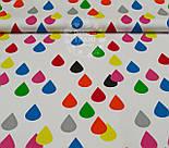 Отрез ткани хлопковая с цветными каплями на белом фоне (№ 902а), размер 50*160, фото 5