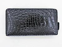 Мужской кошелек из кожи Крокодила 19,5x10x2,5 см 1020. ZAM 11 L Black, фото 1