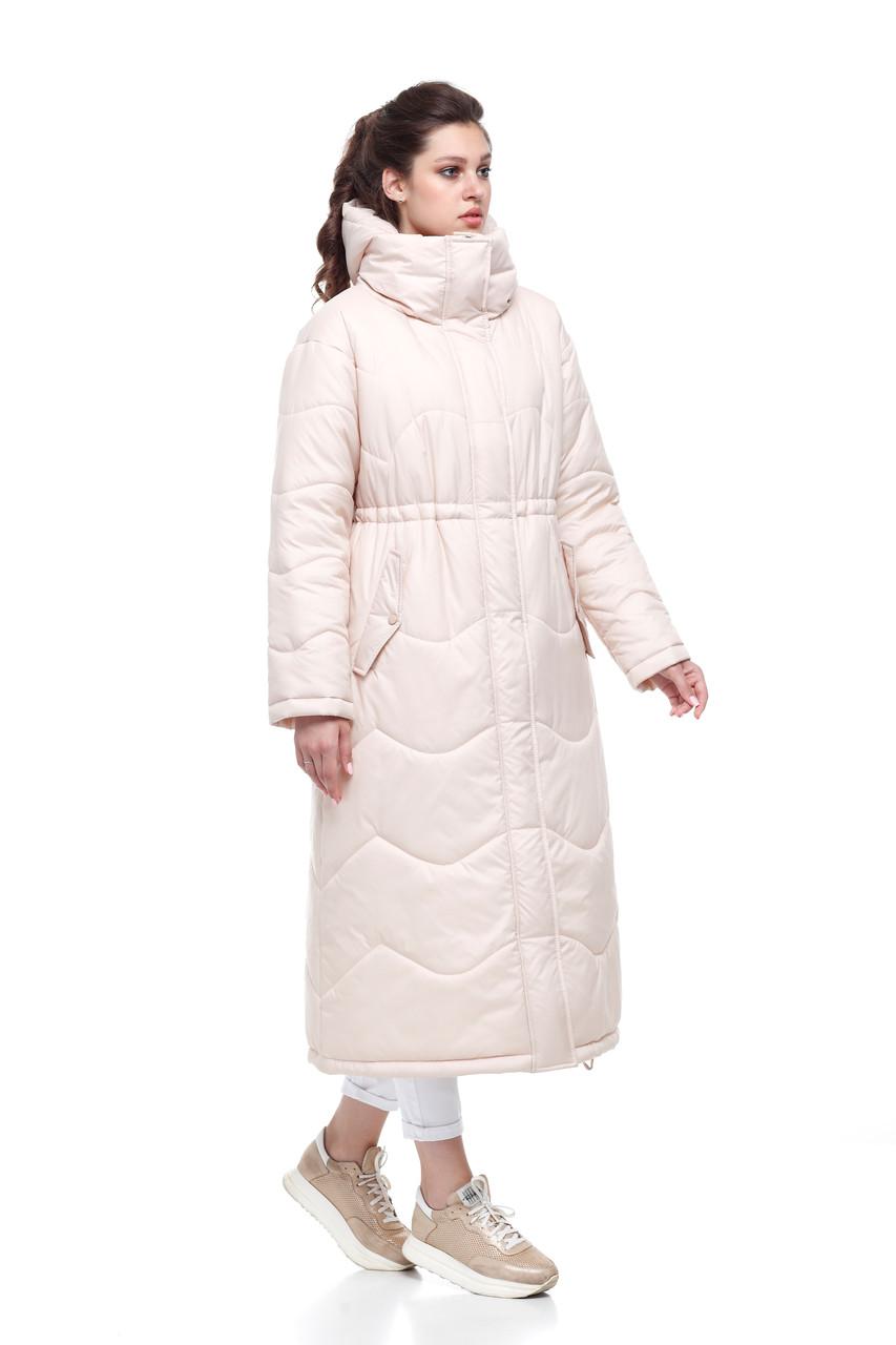 Женское пальто зимнее длинное из плащевки на синтепухе светлое размеры от 42 до 50