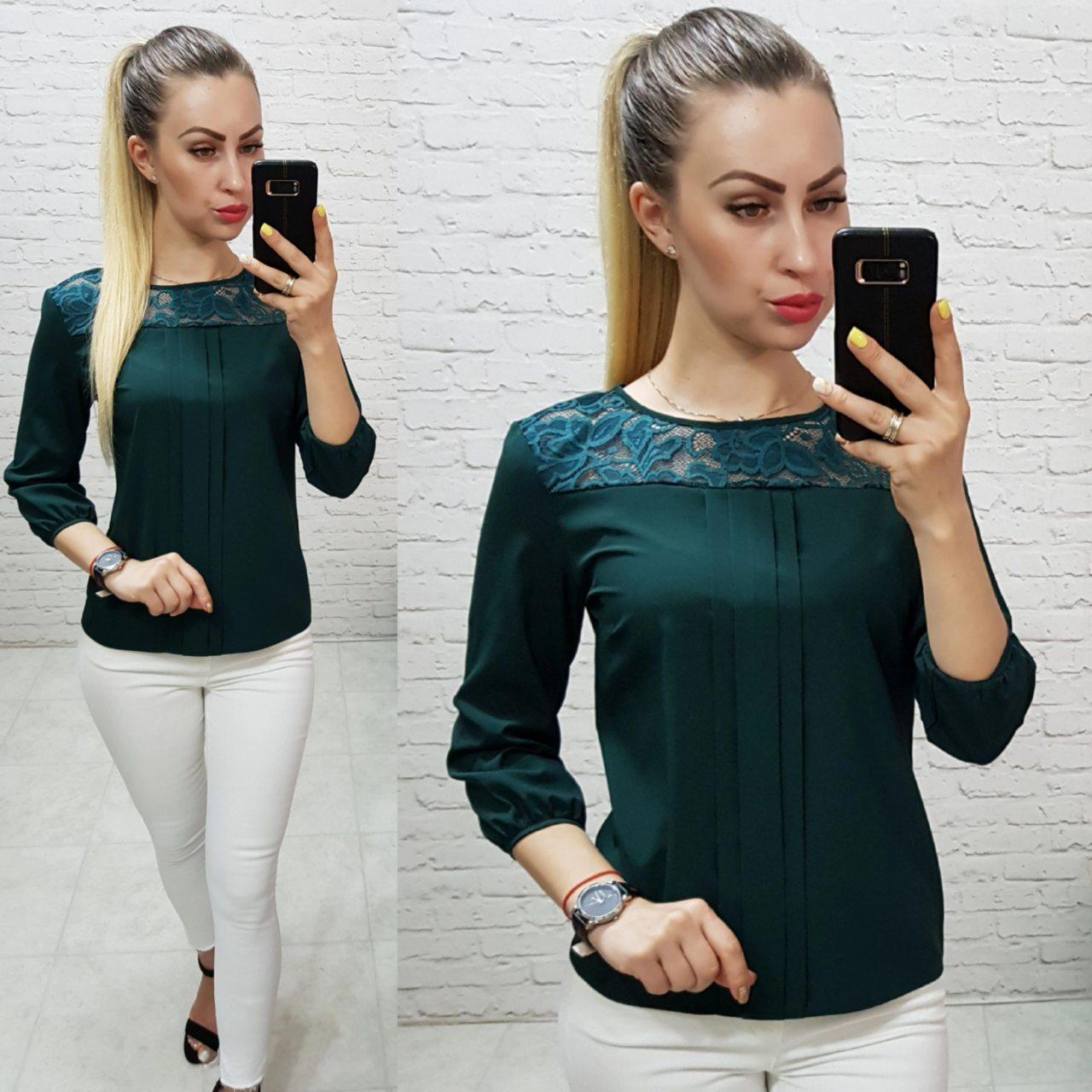 Блуза с кружевом арт. 793 тёмно зелёная / тёмно зеленого цвета