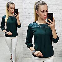 Блуза с кружевом арт. 793 тёмно зелёная / тёмно зеленого цвета, фото 1