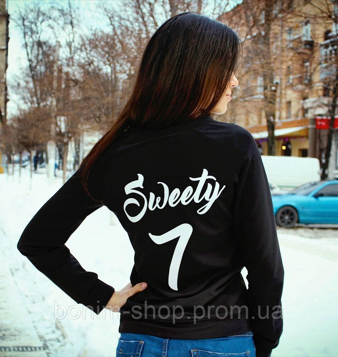 Черный женский свитшот с именем и номером