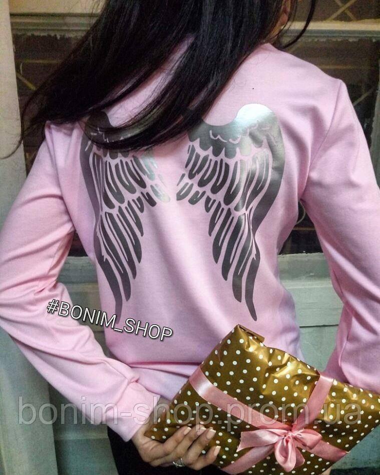 Розовый женский свитшот с принтом Крылья
